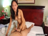 Adorable brunette Asian babe with a wet pussy fucked