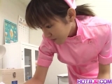 Temptress Shino Isshiki goes naughty on her patient teasing him sexually