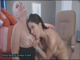 Busty Lesbian MILFs Sharing Double Ended Dildo